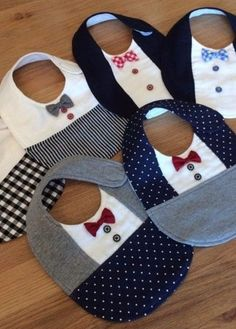 ◆ Handmade_Formal_Bow tie_Sty Set ◆ ◆ H Baby Sewing Projects, Sewing For Kids, Sewing Hacks, Baby Bibs Patterns, Bib Pattern, Baby Crafts, Handmade Baby, Baby Accessories, Wedding Accessories