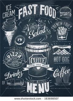 Fast food chalkboard design set – Stock Illustration # 42784845 - All About Blackboard Art, Chalkboard Writing, Chalkboard Lettering, Chalkboard Designs, Chalkboard Drawings, Chalkboard Ideas, Chalkboard Paint, Menu Boards, Art Boards