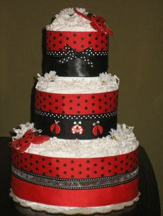 Lady Bug Baby Diaper Cake for Baby Shower Centerpiece, Gift, Decoration, Favors