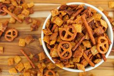 Honey BBQ Chex Party Mix with Frank's Red Hot by Treats with a Twist.  Everything is better with franks red hot!