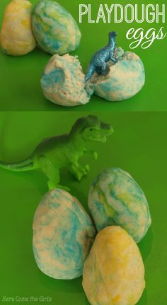 Play dough dinosaur eggs - a fun sensory activity for kids. Eyfs Activities, Nursery Activities, Baby Nursery Themes, Craft Activities For Kids, Preschool Activities, Play Activity, Preschool Projects, Vocabulary Activities, Science Projects