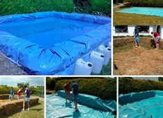 You don't need a lot of money to enjoy swimming in your very own pool. For less than a couple hundred dollars you can set up a perfectly good pool. Oberirdischer Pool, Diy Swimming Pool, Diy Pool, Backyard Projects, Outdoor Projects, Diy Projects, Hay Bale Pool, Piscina Diy, Outdoor Water Activities