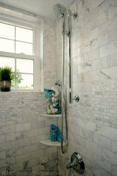 Cape Cod Chic Bathroom - traditional - bathroom - other metro - RJK Construction Inc White Bathroom Tiles, Shower Tile, Shower Surround, Beach Bathroom Design, Traditional Bathroom, Remodel, Shower Design, Chic Bathrooms, Bathroom Design