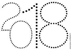 2018 à imprimer. Dessin de dates. Point à point ou points à relier. Jeux de coloriages sur les dates. Pour enfants.