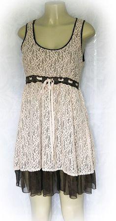EUC A'reve EMBROIDERED DRESS A reve Areve Pale Pink M Sleeveless Brown Mini #Areve #EmpireWaist #SummerBeach