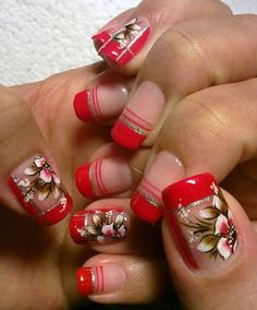 Nail Arts for Small Nails Fancy Nails, Red Nails, Cute Nails, Pretty Nails, Hair And Nails, Nail Art Designs Videos, Red Nail Designs, Short Nails Art, Fabulous Nails