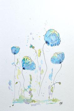 Watercolor Poppy Painting Original Watercolor Art by MABArtStudio