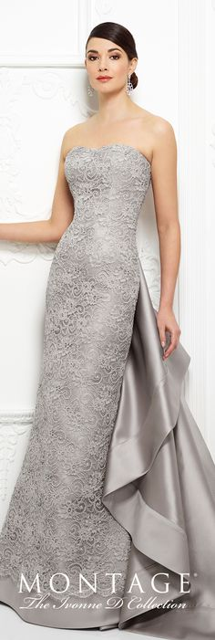 Formal Evening Gowns by Mon Cheri - Fall 2017 - Style No 217D90 - platinum strapless lace fit and flare evening dress