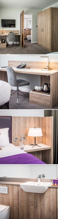 EGGER H3326 ST28 Grey Beige Gladstone Oak was used through the hotel room, including the bathroom panels. To order a sample of H3326 go to: https://www.egger.com/shop/en_GB/Decor/H3326-ST28-ST15/p/H3326_28