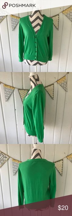 J. Crew Factory Green Cotton Cardigan Sweater This is a gorgeous Spring green cardigan from J. Crew factory. It is in very good used condition. It does have some slight pilling all over from being washed. The pilling is concentrated mostly under the arms (see picture). I wore it with the navy, green, and white Max Edition dress that is also for sale in my closet (see last pic). The greens are a different shade, but I still thought that they looked good together. This listing is for the…