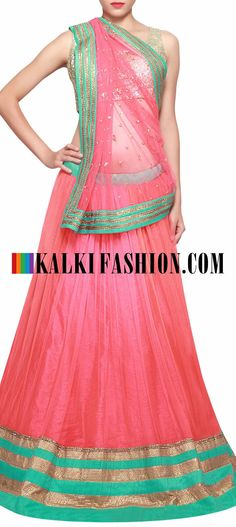 Get this beautiful lehenga here: http://www.kalkifashion.com/peach-lehenga-embellished-in-kardana-embroidery-only-on-kalki.html Free shipping worldwide.