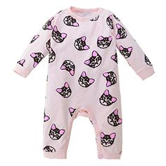 Muxika Toddler Baby Girls Cute Long Sleeve ONeck Kitten Print Romper Jumpsuit 03 Month Pink * For more information, visit image link. #BabyClothing https://presentbaby.com