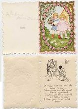 Delicate Courting Children & Pink Roses WHITNEY MADE Embossed Fold-Over Die Cut Valentine Card