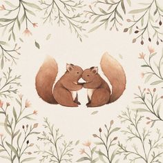 Cheeky Squirrels : Illustration on a by NinaStajner Art And Illustration, Squirrel Illustration, Illustration Inspiration, Cute Animal Illustration, Cute Animal Drawings, Illustrations, Watercolor Illustration, Watercolor Paintings, Woodland Animals