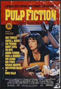 High resolution official theatrical movie poster ( of for Pulp Fiction Image dimensions: 1995 x Directed by Quentin Tarantino. Starring John Travolta, Samuel L. Best Drama Movies, Iconic Movies, Amazing Movies, 1970s Movies, The Best Films, Tarantino Films, Quentin Tarantino, Poster Art, Design Poster