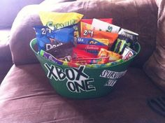 56 ideas gifts baskets for men gamer gifts 692498880185390156 Romantic Boyfriend Gifts, Gifts For Gamer Boyfriend, Gamer Gifts, Birthday Gifts For Boyfriend, Valentine Baskets, Christmas Baskets, Easter Baskets, Christmas Gnome, Xbox One