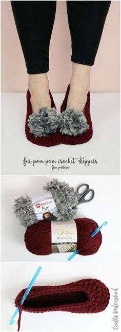 Fur Pom Pom Crochet Slippers Pattern - free fast and easy crochet pattern