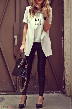 Tee, Black pants and White blazer