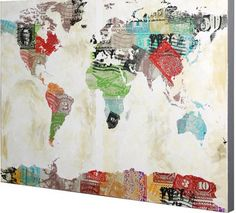 you could use different papers for the continents, or different paint colors. Art Auction, Continents, Paint Colors, Diagram, Map, Painting, Paint Colours, Location Map, Painting Art