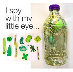Make I Spy jars to keep the kids busy while traveling in a car or sitting in a doctor's office. - - -Toddler busy bag ideas Love the green trend. Good I Spy for an older child. - -http://pinterest.com/imacasteel/handmade-toys/