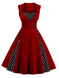 GET $50 NOW | Join RoseGal: Get YOUR $50 NOW!http://www.rosegal.com/vintage-dresses/retro-button-embellished-polka-dot-843976.html?seid=7417738rg843976
