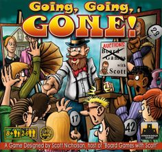 Going, Going, Gone!-  A set collection/auction game where players will put cups in cups to try to buy items for their collections and have the most money by the end of the game.... I hear its just plain fun in a box.