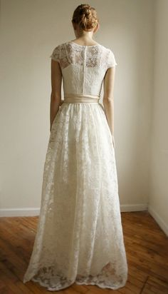 Ellie Long 2 Piece Lace and Cotton Wedding Dress (The back)   by Leanimal, $1250.00