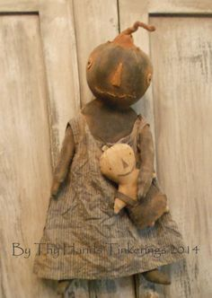 Now available Primitive Black Pumpkin Doll  email me for purchase~ wootown2003@yahoo.com