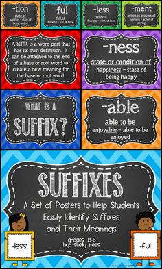 Suffixes and Meanings Poster Set for Grades 2-6. Common Core Aligned. Perfect for helping students have a visual cue for understanding word meaning! Love!
