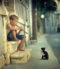 boy entertaining a kitty