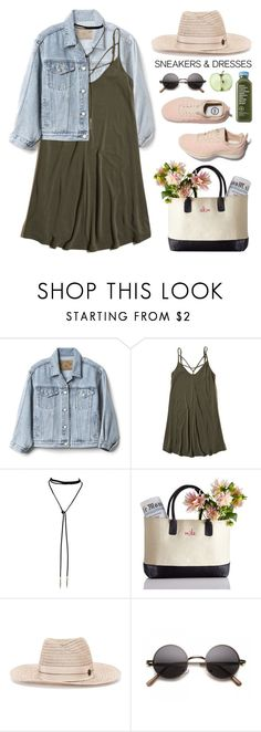 """""""Sneakers and dresses"""" by purpleagony ❤ liked on Polyvore featuring Gap, Hollister Co., Bølo and Maison Michel"""