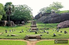 "steps leading from Vessagiriya, Anuradhapura. located opposite the ""tissa wewa"", this unspoilt monastery complex consists of 3 beautiful boulder complex and housed many caves"