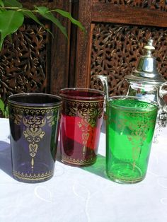 Set of Moroccan tea glasses in purple green and red pattern Moroccan Lamp, Tea Glasses, Tea Blends, Red Pattern, Soft Furnishings, Lanterns, Tea Pots, Perfume Bottles, Christmas Gifts