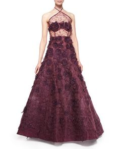 Halter-Neck Floral-Embellished Organza Gown, Bordeaux by Oscar de la Renta at Bergdorf Goodman.