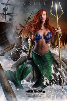 I enjoyed what the last pinner said: I'd watch the shit out of Ariel ruling in her fathers place as queen of the sea! a much more interesting movie than selling her voice for legs so she could seduce a man. Credit given to Mike Roshuk for this very inspiring piece of art.