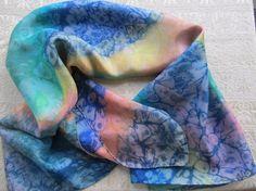 Vintage tie-dye Silk scarf.  1980's Boho by WENeverilookup on Etsy