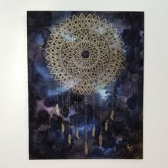 "Mandala Dreamcatcher Painting. Kate Reid Artworks original piece 11"" x 14"" done in metallic and alcohol ink on canvas board"