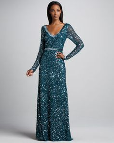 Beaded V-Neck Gown by Aidan Mattox at Neiman Marcus.