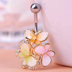 Kawaii Cute Three Butterfly Navel Piercings Brand Womans Fashion Colares Bijuterias Feminino Belly Button Rings Percing Bijoux