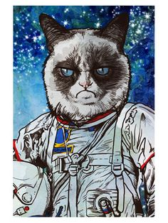 Captain Grumpy Fine Art Canvas by Oliver Gal at Gilt Canvas Art Prints, Painting Prints, Canvas Wall Art, Fine Art Prints, Wood Canvas, Thing 1, Leonid Afremov Paintings, Grumpy Cat, Framed Wall Art