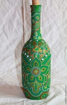 Декоративная посуда ручной работы. Ярмарка Мастеров - ручная работа Бутылка. Точечная роспись. Изумрудный цветок. Handmade.