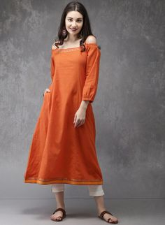 Buy Anouk Orange Striped Off Shoulder A-Line Kurta online in India at best price.Fabric : Cotton Length : Calf Length Sleeves : Sleeves Neck : Off Shoulder Product warranty : Warranty Indian Designer Outfits, Designer Dresses, Off Shoulder Kurti, Simple Kurta Designs, Casual Indian Fashion, Casual Frocks, A Line Kurta, Sleeves Designs For Dresses, Embroidery Suits Design