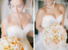 The bride's bouquet was a romantic ball of peach and ivory roses, ranunculus and stephanotis. Clane Gessel Photography.