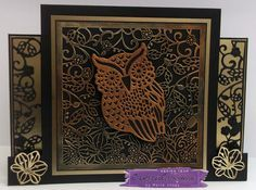 Stepper Card made with Crafter's Companion Die'sire Create A Card die – What A Hoot. Fancy Card Blanks – Square Centre Step Card – Black. Designed by Marie Jones #crafterscompanion