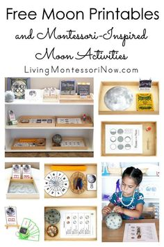 List of free moon printables along with ideas for using moon printables to create Montessori-inspired themed activities for preschoolers through grade 1!