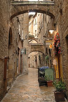 Volterra ~ Italy I've been here during an extended holiday in Tuscany. It really was one of most beautiful towns I've ever been to. Lots of little alleys and backstreets just like this one. Makes me want to go back x