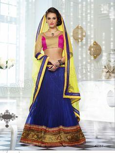 #Designer Lehenga Choli#Blue & Gold  #Indian Wear#Desi Fashion #Natasha Couture #Indian Ethnic Wear #Bridal Wear #Wedding Wear