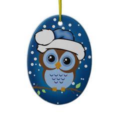 Blue Owl Family Christmas Ornament