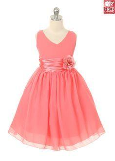 Coral Chiffon Flower Girl Dress $40