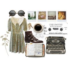 life. by hippierose on Polyvore featuring Modern Vice, Chiasso, Katie, Band of Outsiders, Polaroid, Peek, pinafore dresses, round sunglasses, ankle boots and lace